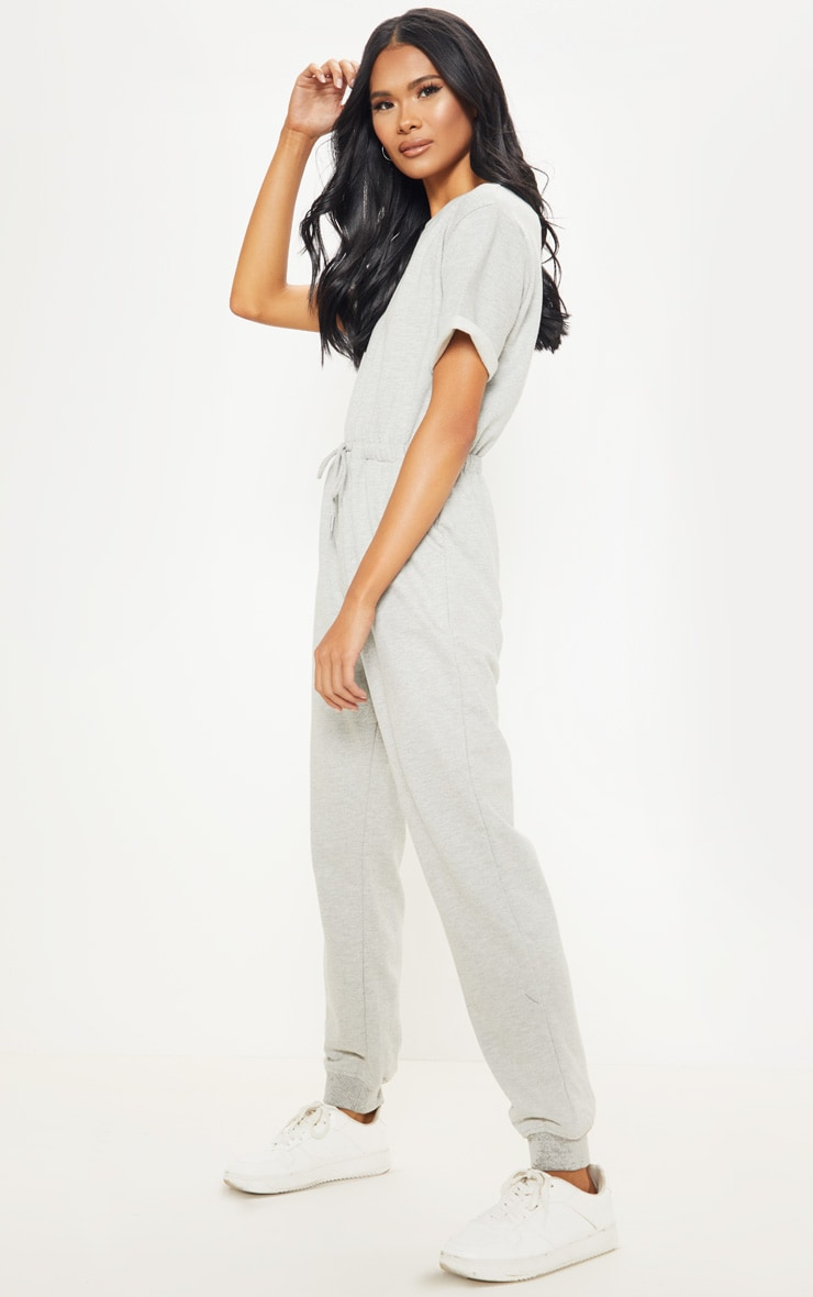 Grey Short Sleeve Sweat Jumpsuit 4