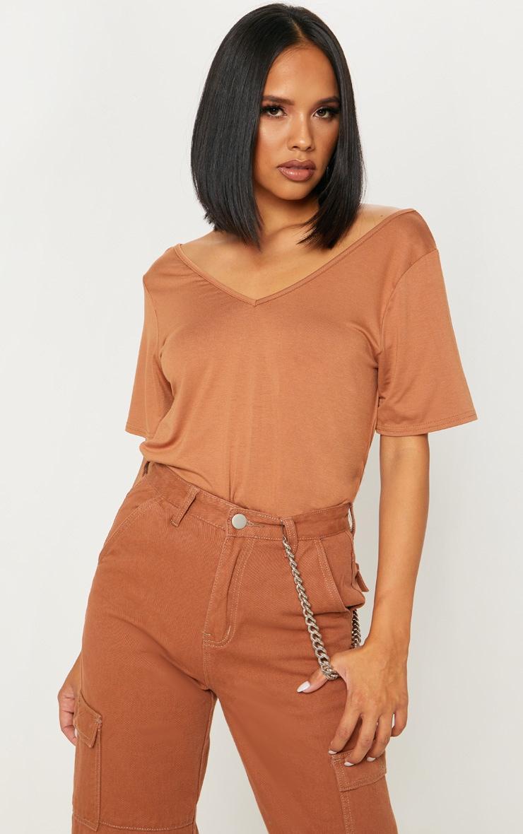 fc497552 Basic Dark Camel Jersey V Neck T Shirt   Tops   PrettyLittleThing USA