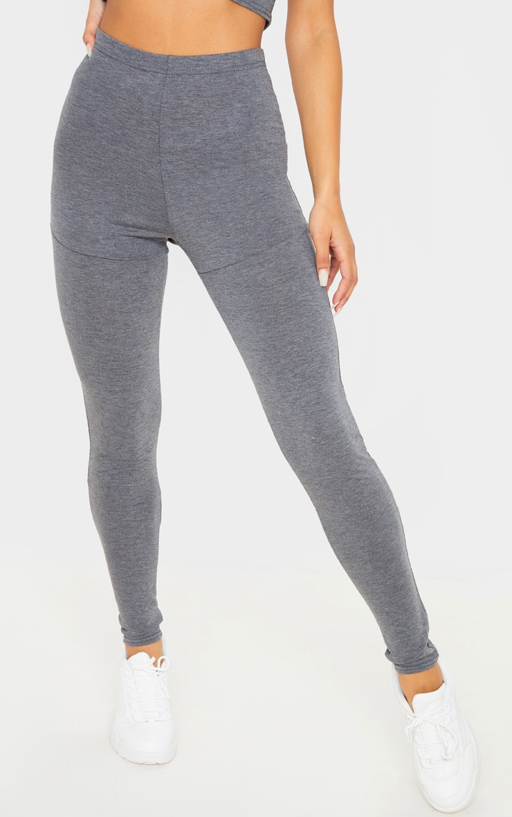 Charcoal Grey Jersey Seam Detail Legging 2