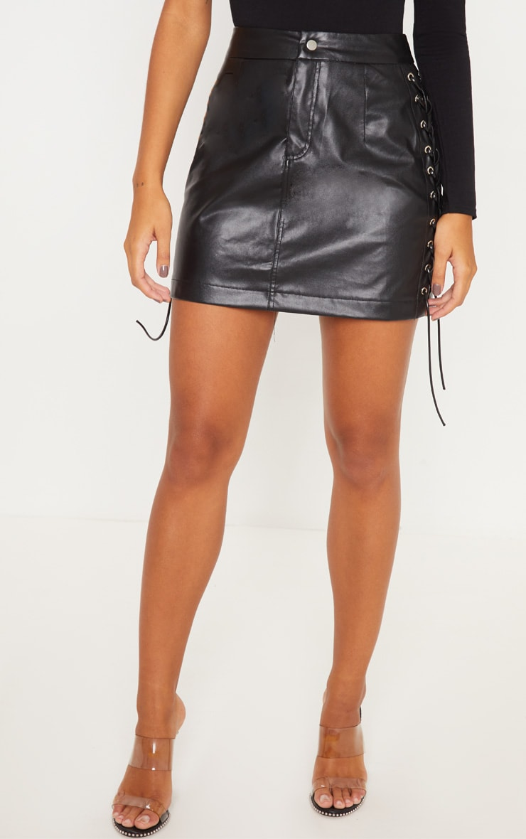 Black Faux Leather Lace Up Mini Skirt 2