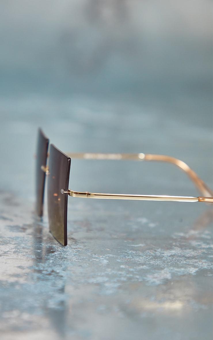 Brown Fade Oversized Rimless Square Sunglasses 3