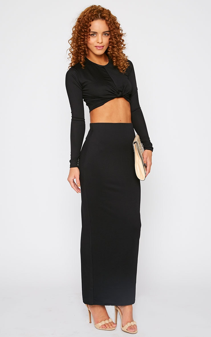 Zafia Black Crepe Split Maxi Skirt 1