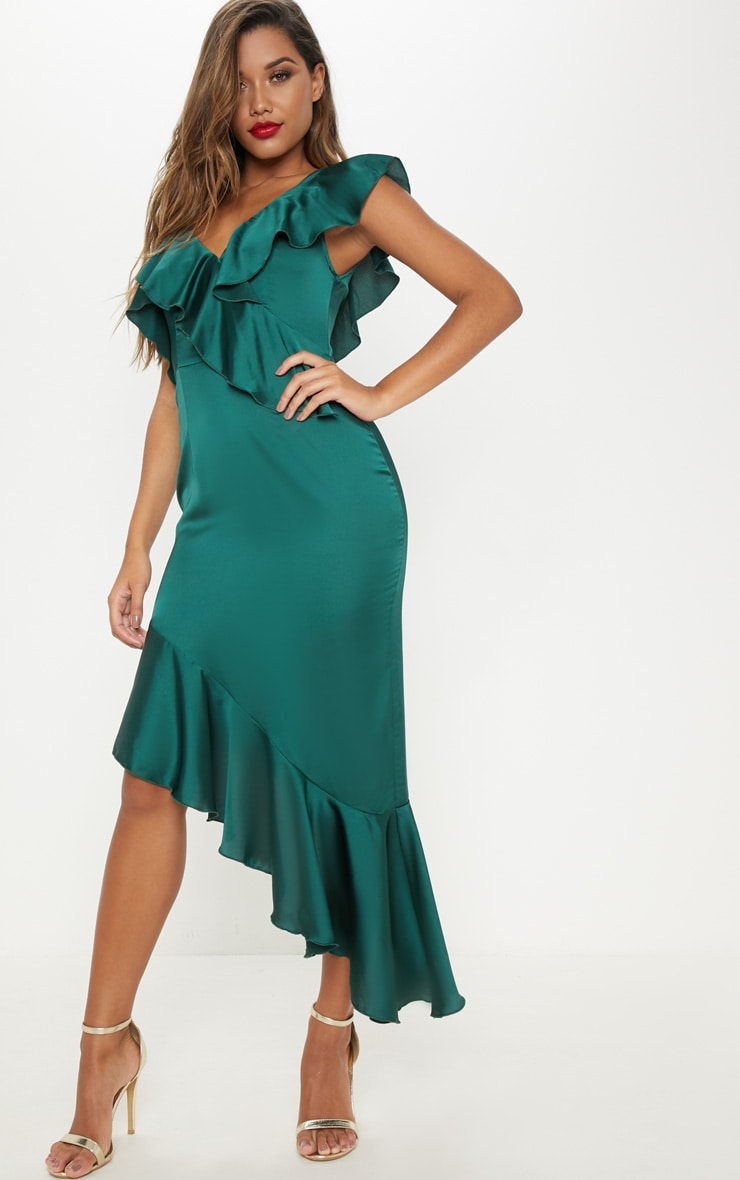 Emerald Green Satin Asymmetric Hem Maxi Dress