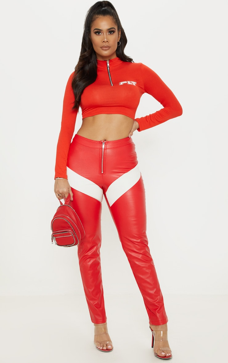 Red Faux Leather Zip Front Panel Detail Straight Leg Pants  1