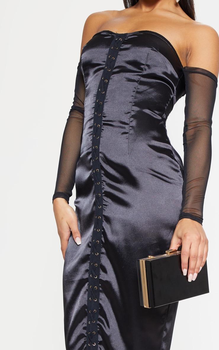 Black Satin Bardot Eyelet Midi Dress 5