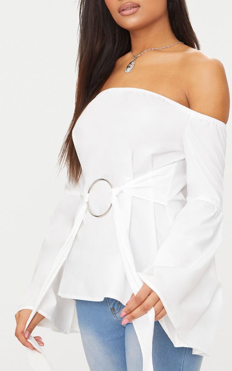 White Bardot O Ring Shirt  5
