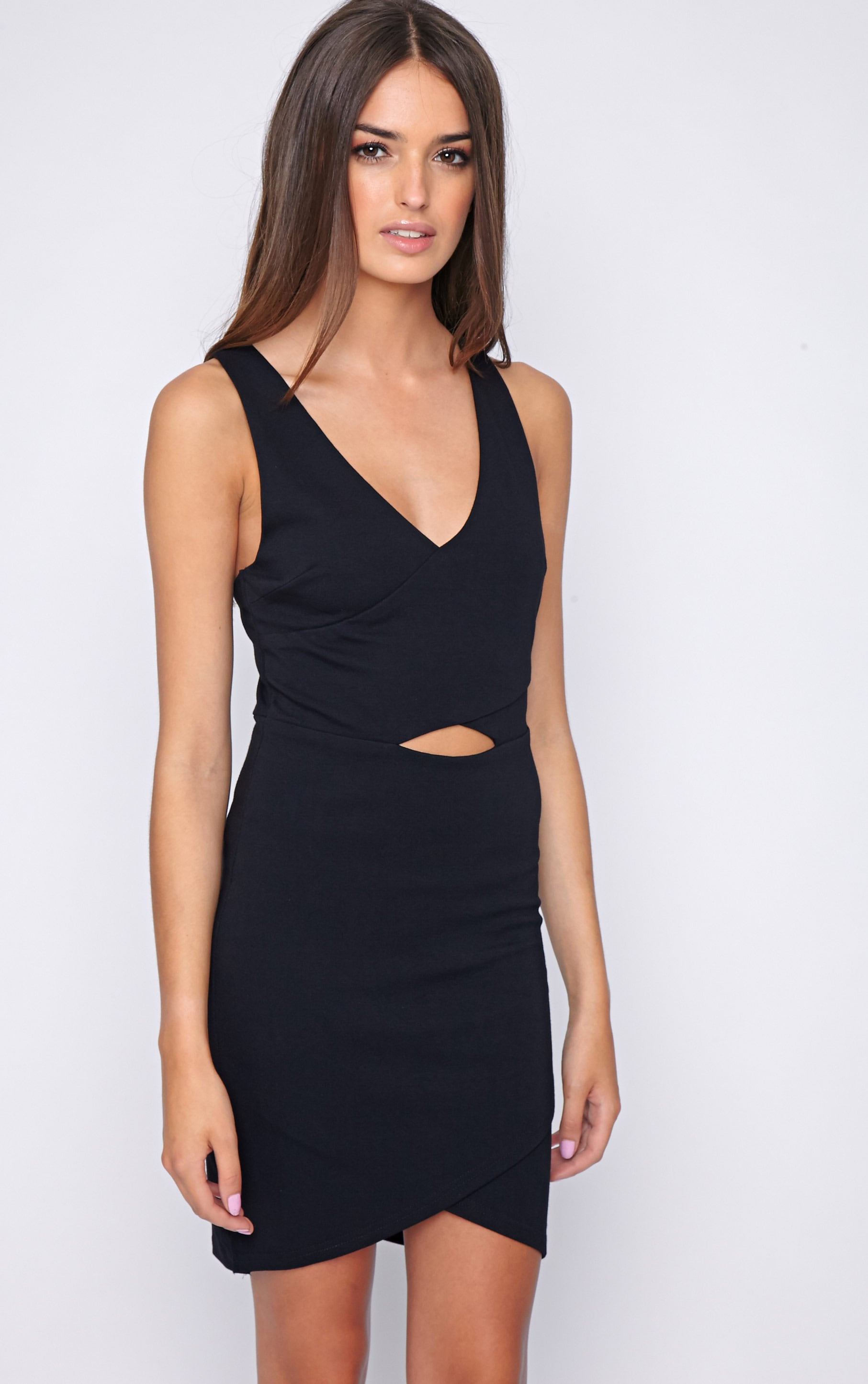 Tulsi Black Crossover Mini Dress 1