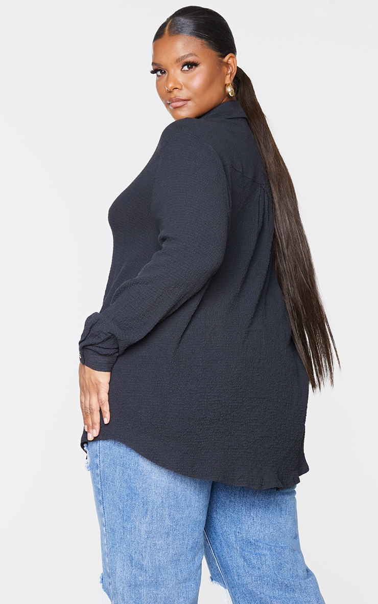 Plus Black Textured Oversized Shirt 2