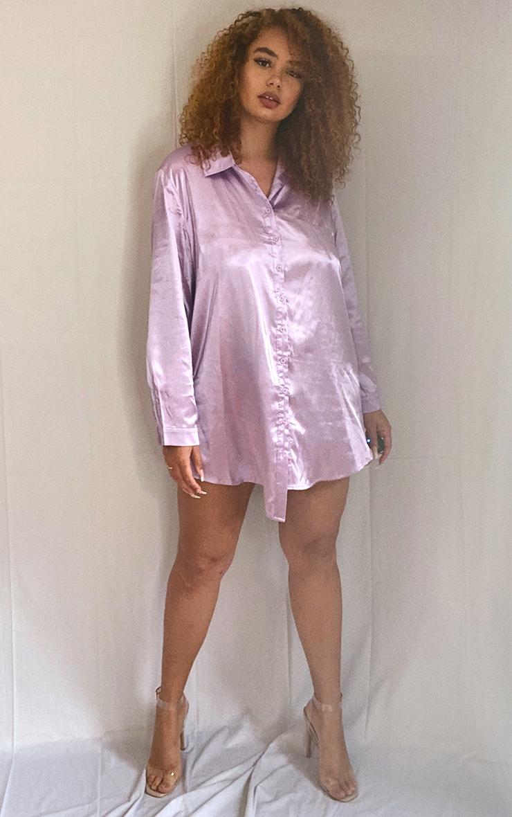 Plus Lilac Satin Button Front Shirt Dress 3