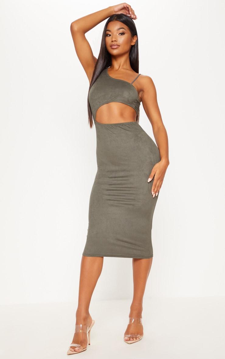 Khaki Faux Suede Asymmetric Cut Out Midi Dress by Prettylittlething