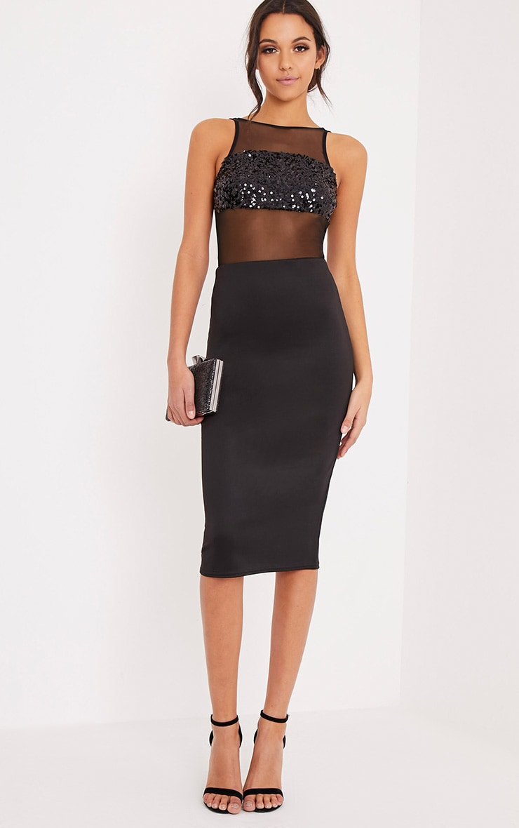 Maysee Black Mesh Sequin Thong Bodysuit 6