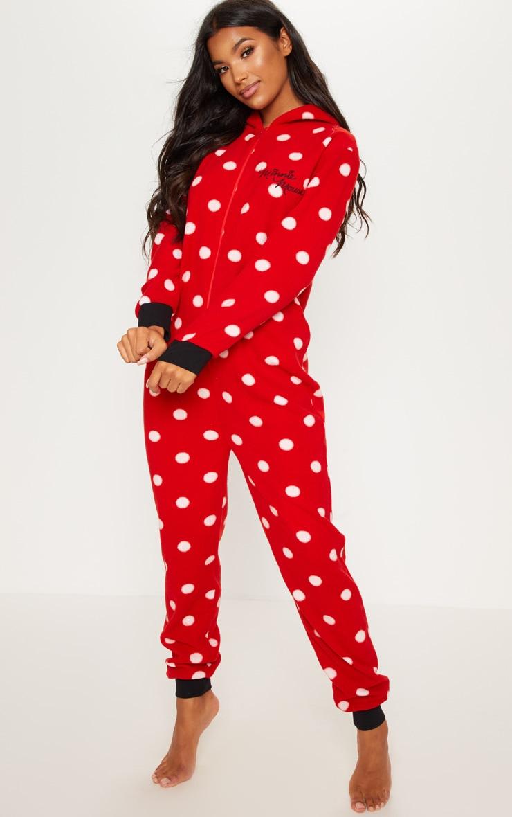 Red Disney Minnie Mouse Polka Dot Onesie 4