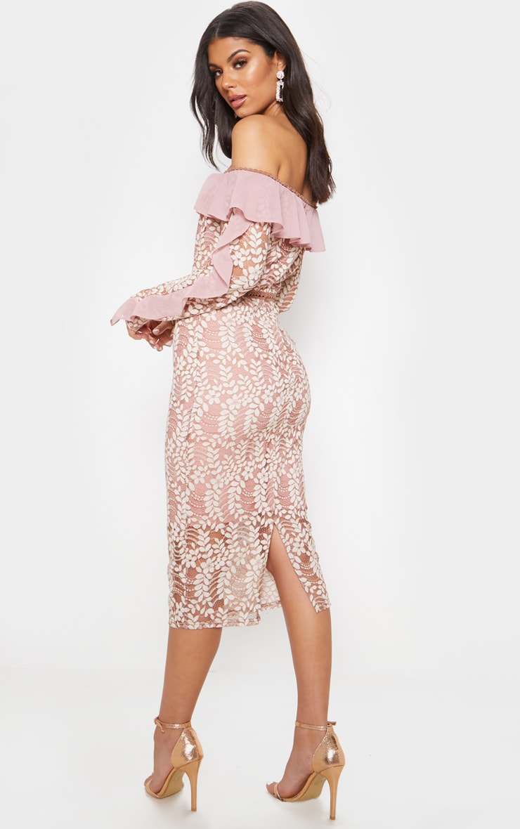 Dusty Pink Bardot Lace Frill Sleeve Midi Dress 2