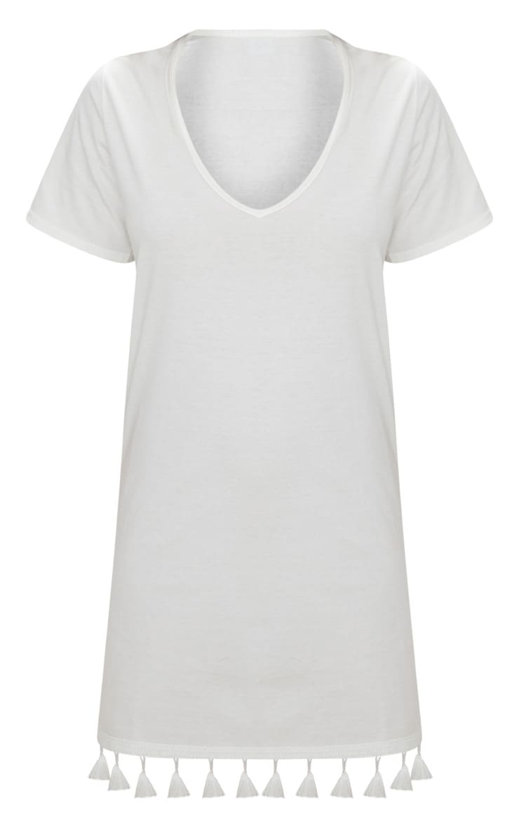 White Tassel Trim T Shirt Dress 3