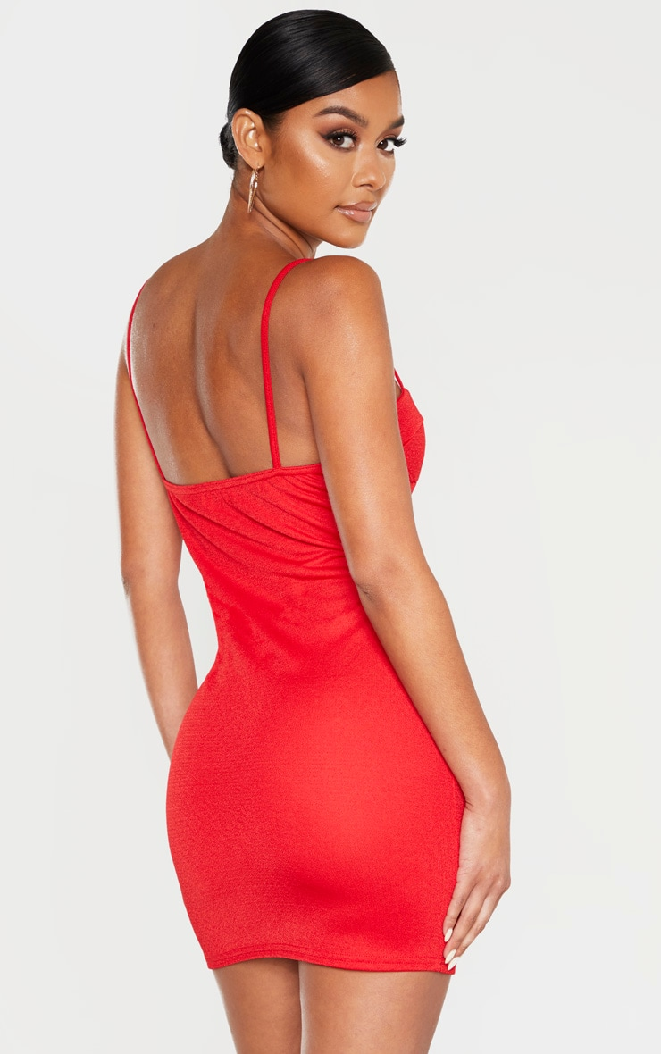 Red Sleeveless Cut Out Cup Bodycon Dress 2