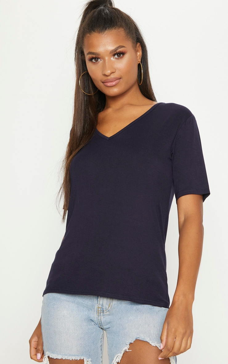 Basic Navy V Neck T Shirt 4