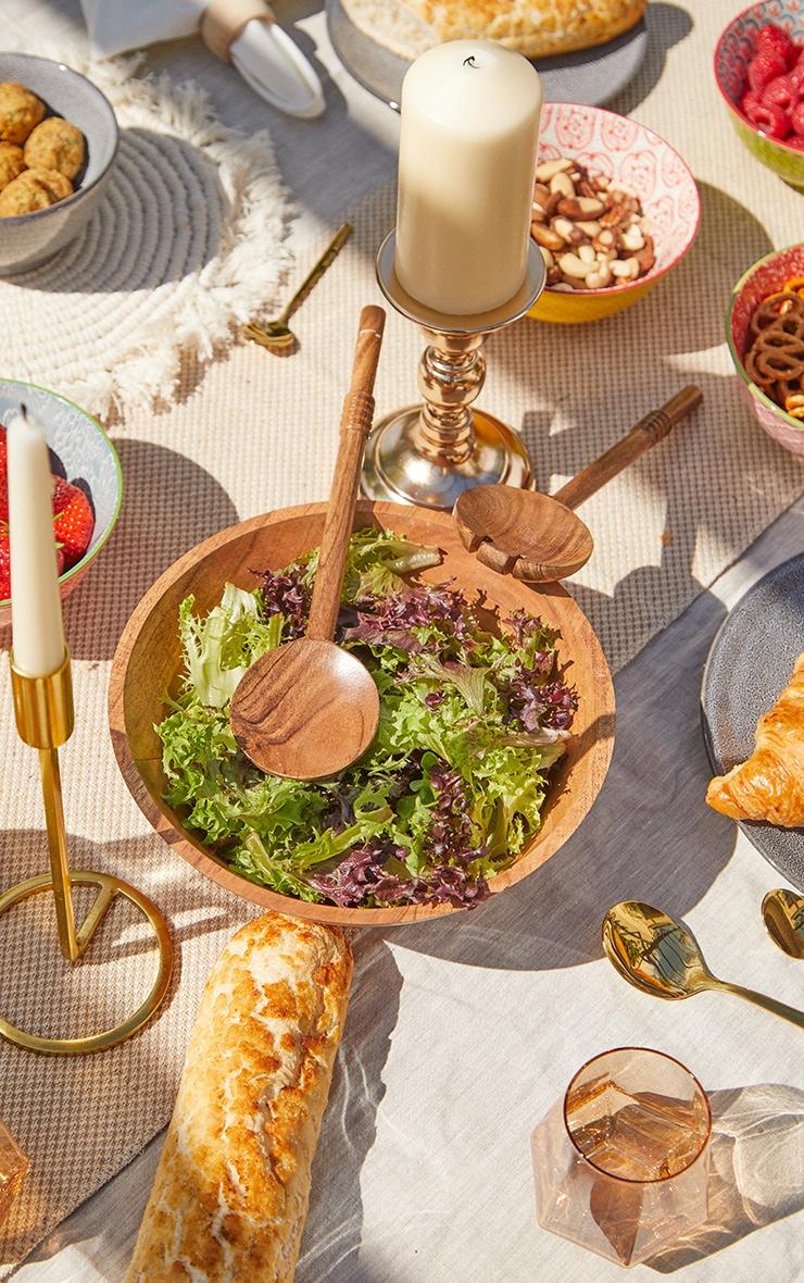 Brown Wooden Salad Bowl 2