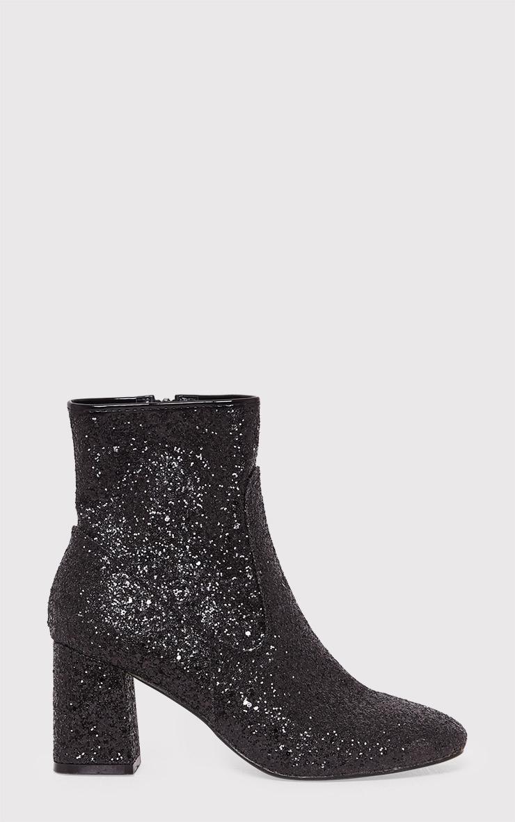 Rhianne Black Glitter Ankle Boots