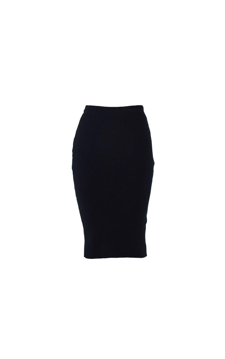 Black All Over Ribbed Knitted Midi Skirt 5