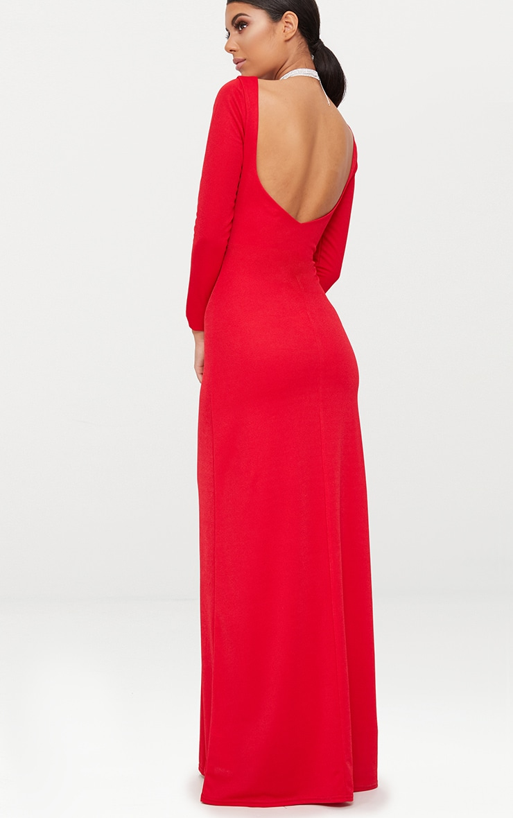 Red Backless Plunge Long Sleeve Maxi Dress  2