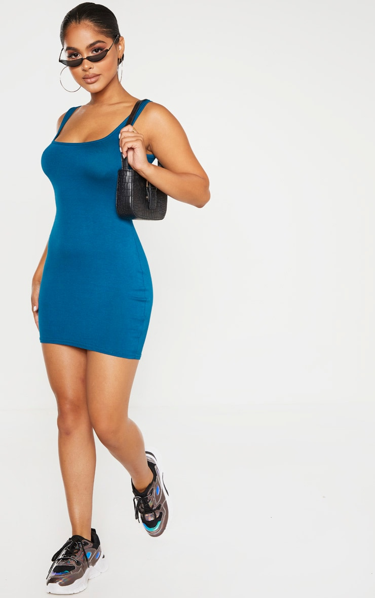 Petite Petrol Blue Jersey Mini Dress 4