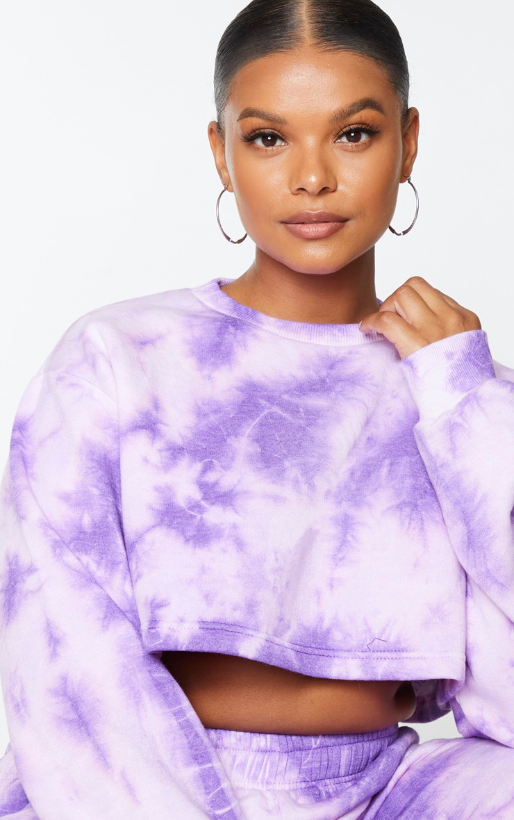 Plus Violet Tie Dye Extreme Cropped Sweater 4