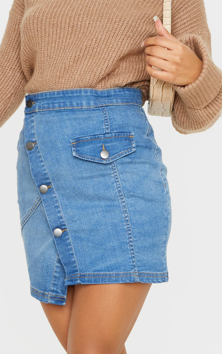 Mid Wash Pocket Button Through Asymmetric Denim Skirt 6
