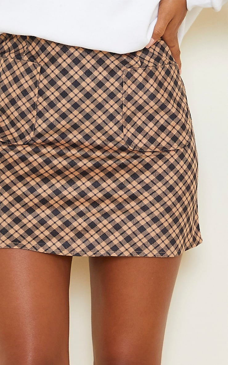 Brown Checked Soft Touch Pocket Detail Mini Skirt 5