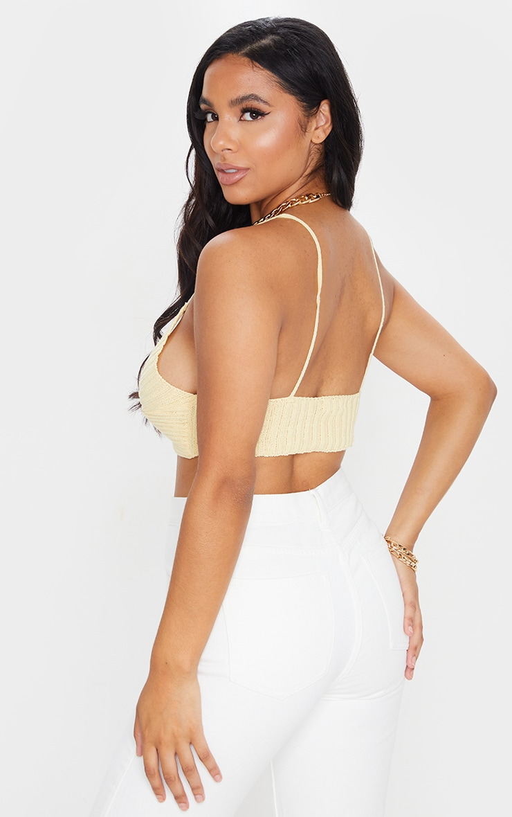 Yellow Twist Front Knitted Bralet 2
