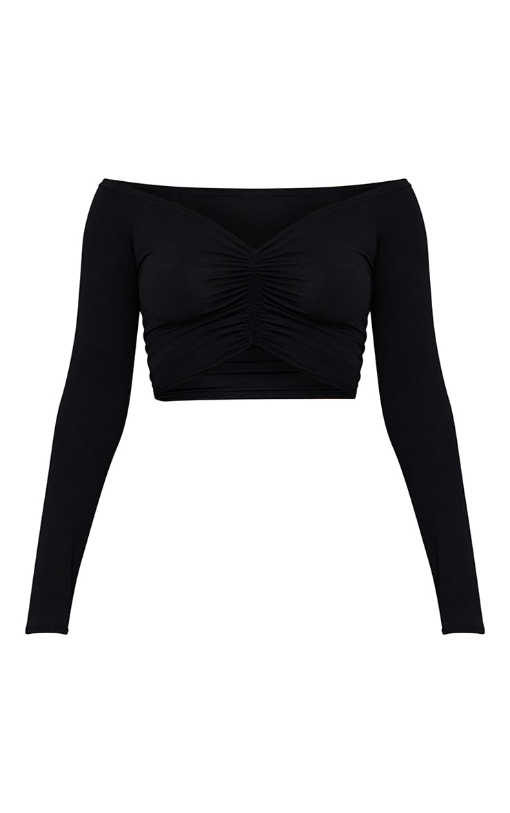 Black Slinky Ruched Front Long Sleeve Crop Top  5