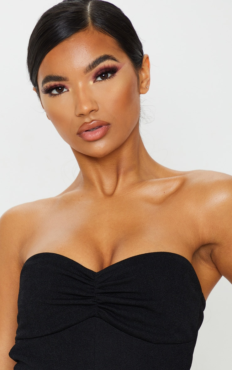 Basic Black Crepe Twist Bandeau Bodysuit 6