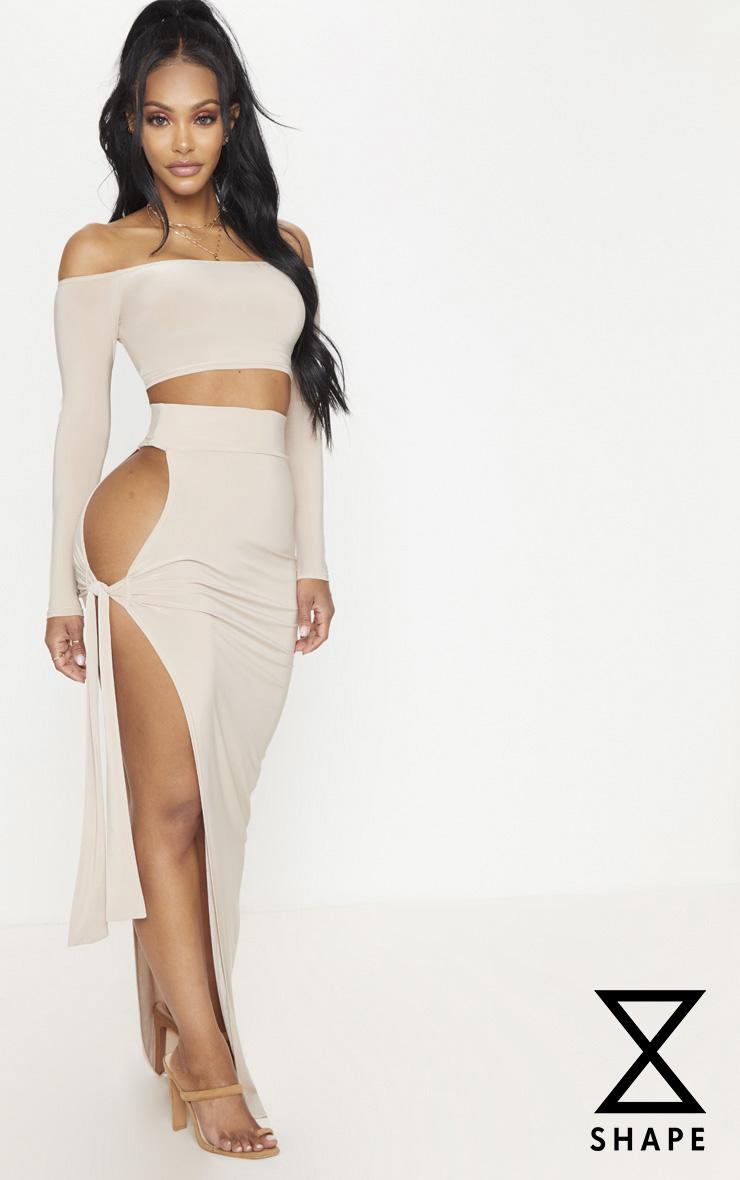 Shape Stone Slinky Tie Detail Maxi Skirt 1