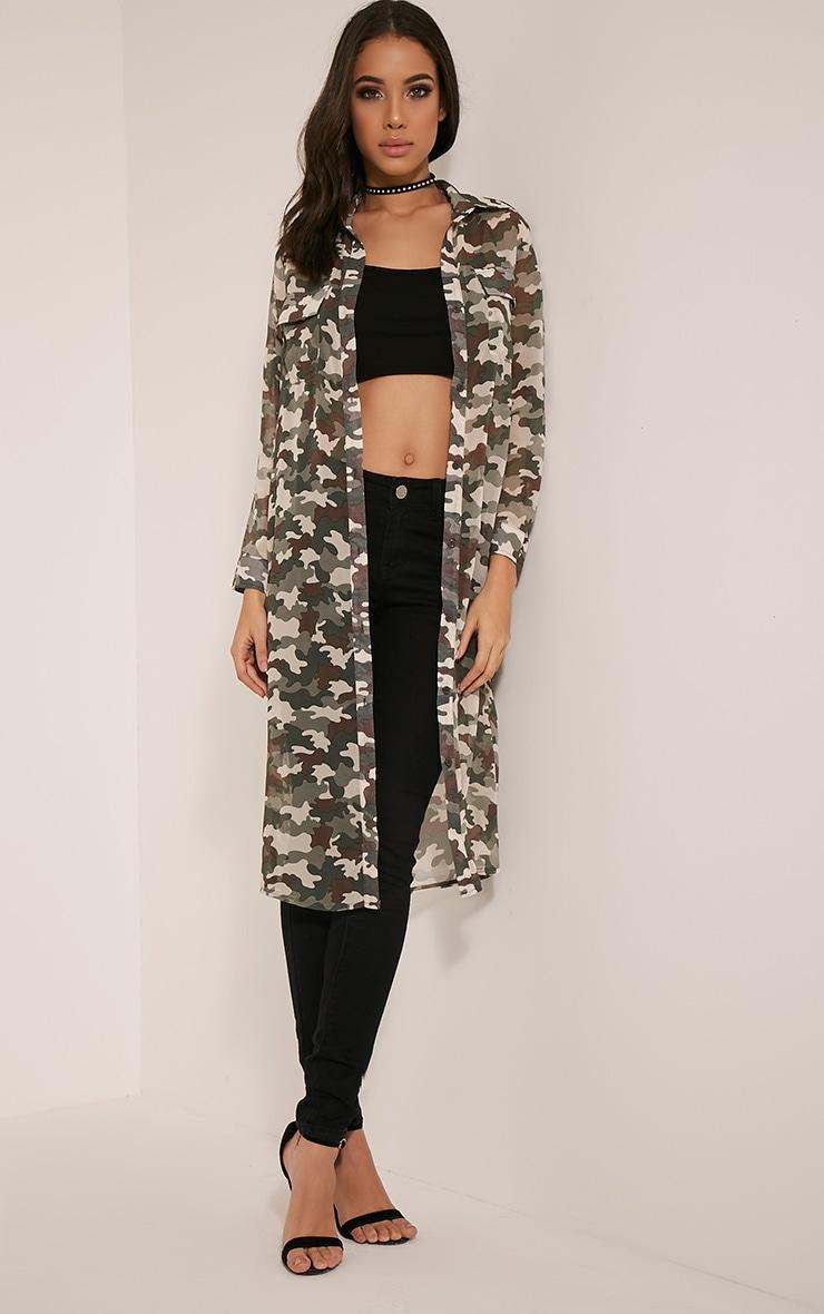Tabia Khaki Camouflage Print Chiffon Longline Shirt 5