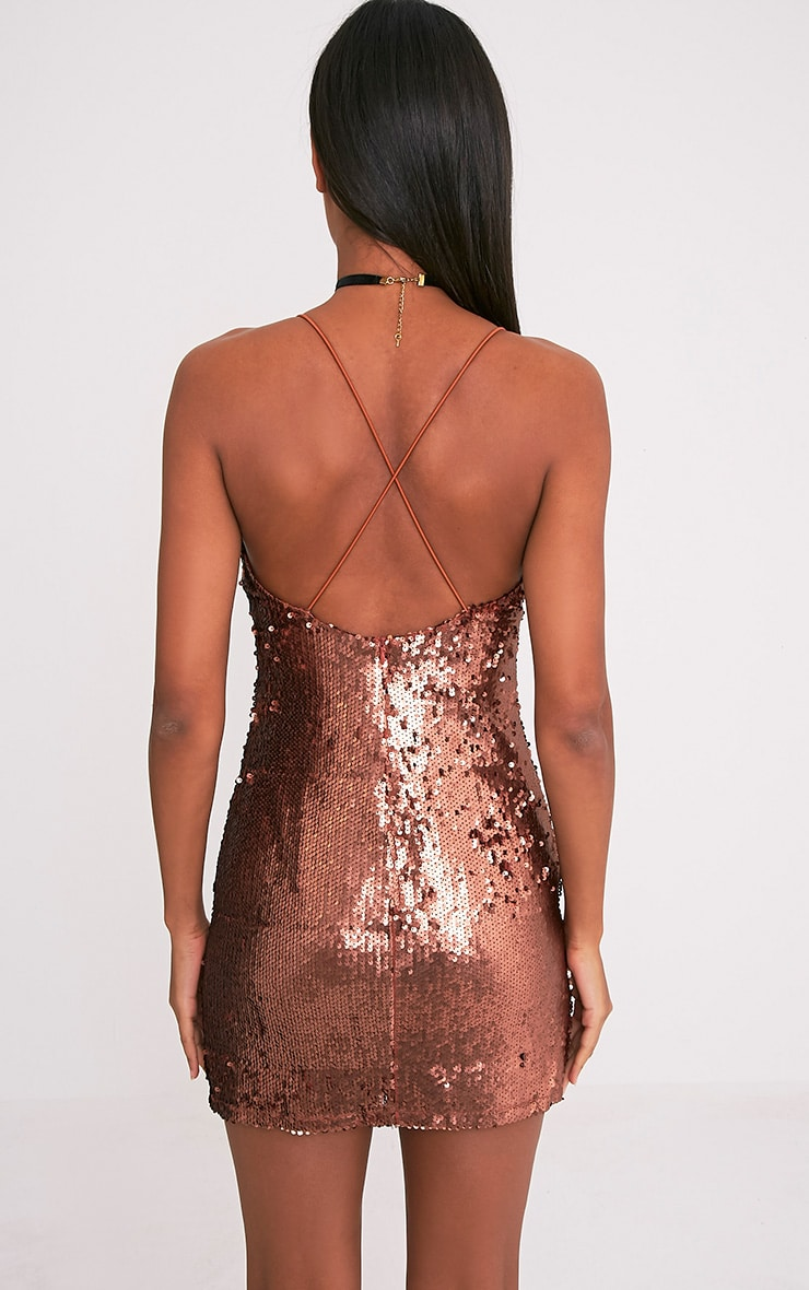 Sharlie Rose Gold Cross Back Sequin Slip Dress 2