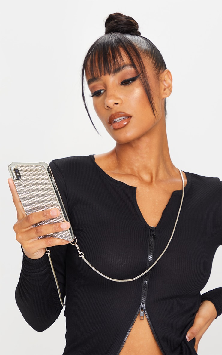 Diamante iPhone XR Case With Silver Chain 1