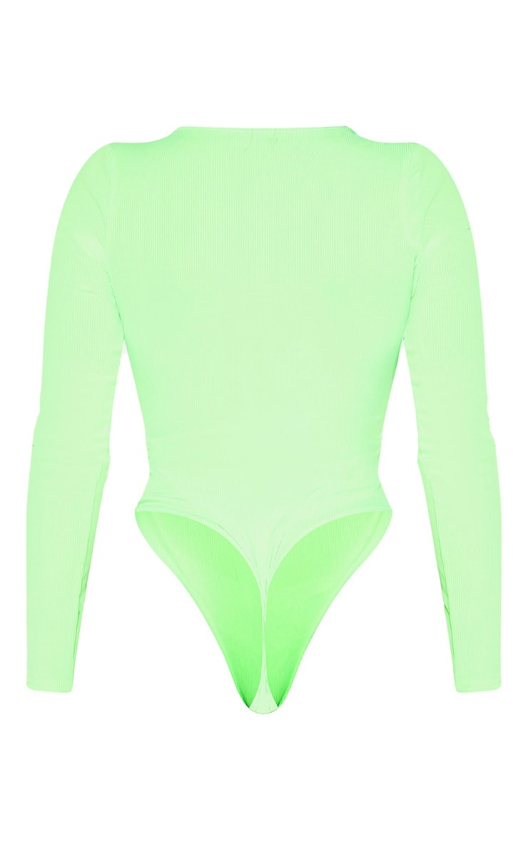 Shape Neon Lime Ribbed Long Sleeve Bodysuit 4