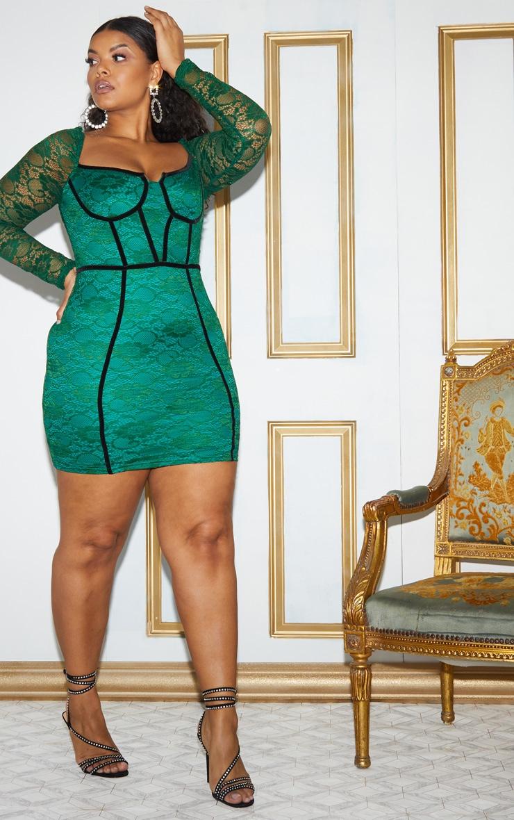 Plus Green Lace Puff Sleeve Binding Bodycon Dress 6