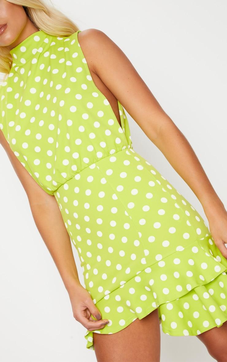 Lime Polka Dot High Neck Frill Hem Bodycon Dress 5