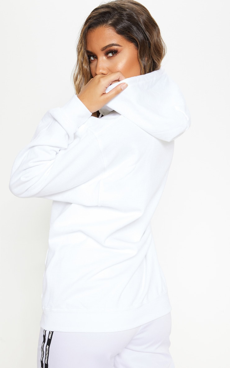 White Fleece Zip Up Hoodie 2