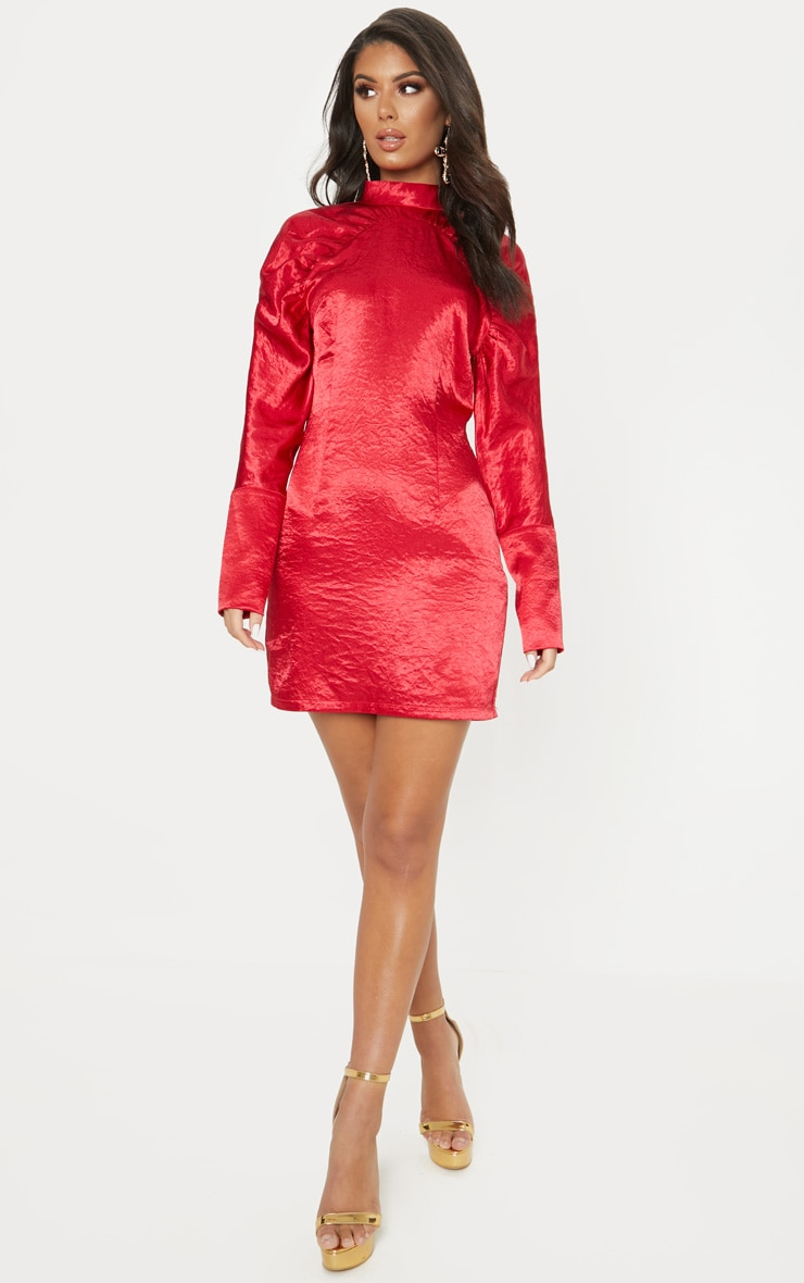 Red Satin High Neck Long Sleeve Ruched Bodycon Dress 1