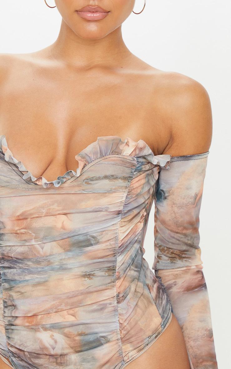 Multi Water Renaissance Printed Mesh Ruched Bardot Bodysuit 5