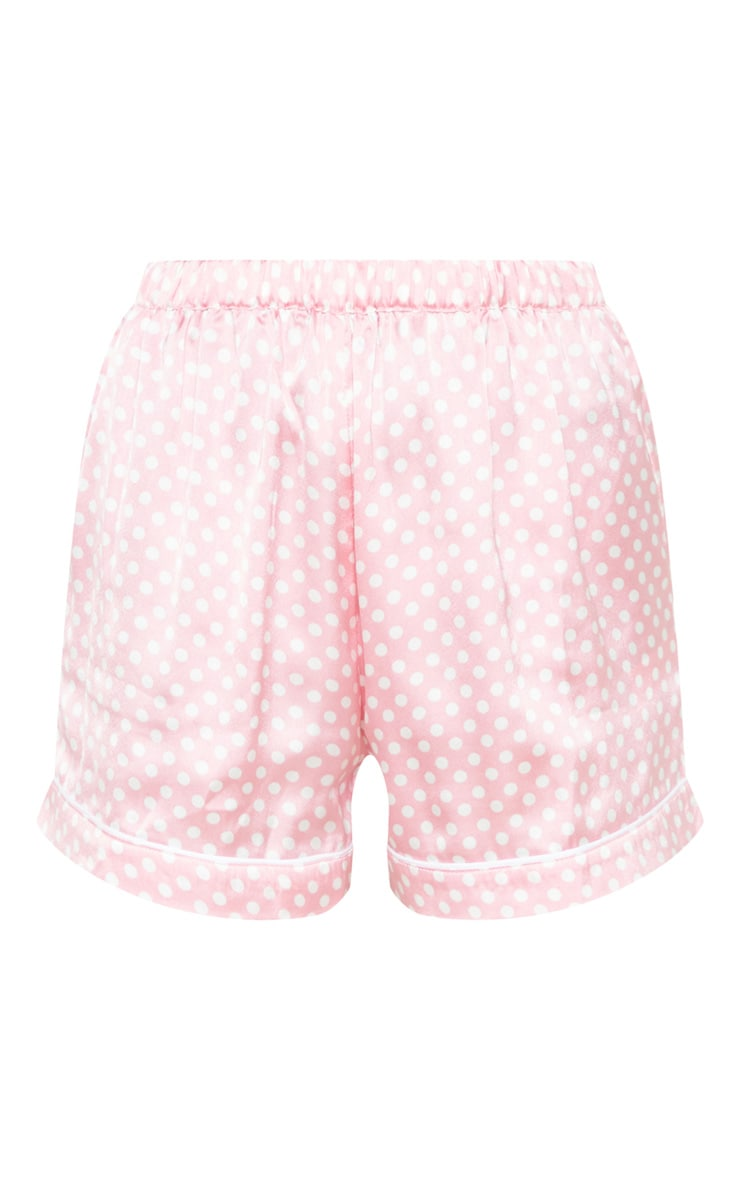 Pink Polka Dot Satin PJ Short Set 6
