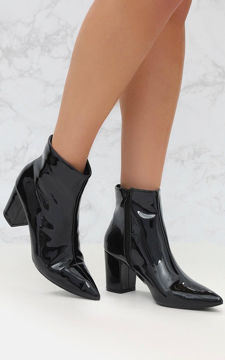 Black High Shine Metallic Block Heel Ankle Boot 1