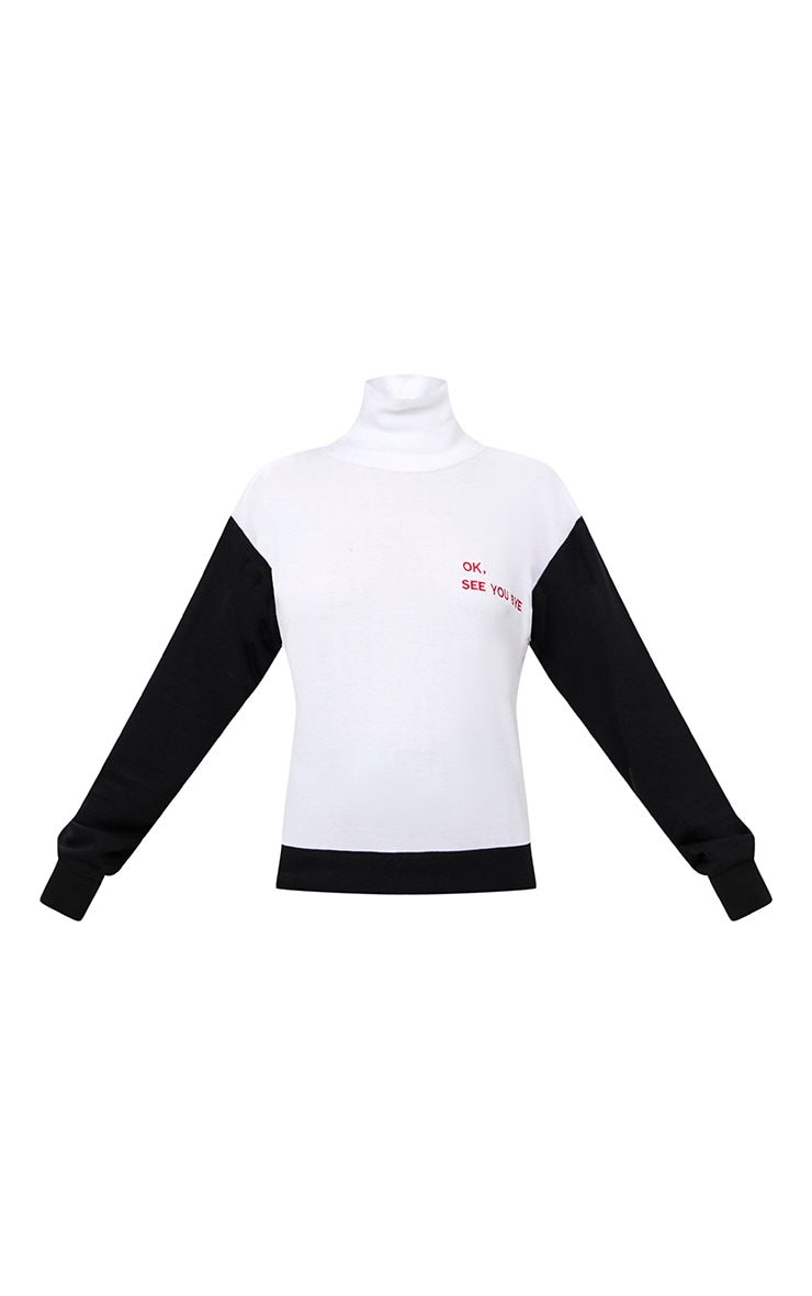 White OK, See You Bye Slogan High Neck  Sweater 3