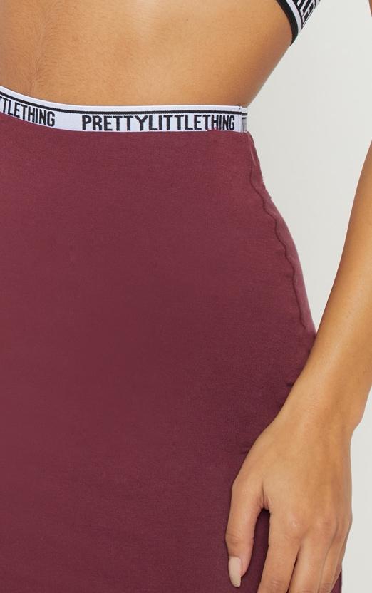 PRETTYLITTLETHING Maroon Midi Skirt 5