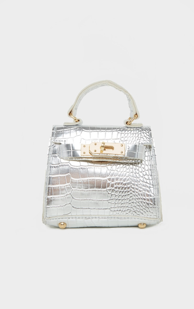Silver Croc Mini Micro Bag 3