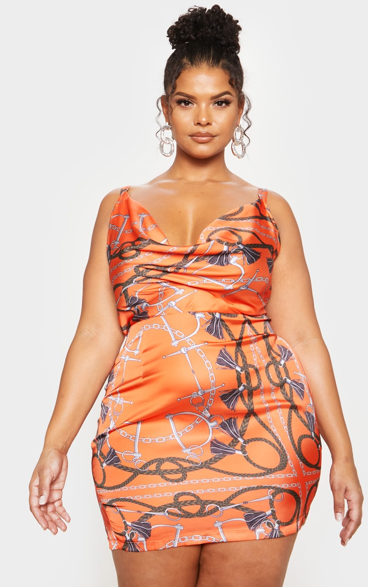 Orange Chain Print Satin Cowl Neck Bodycon Dress