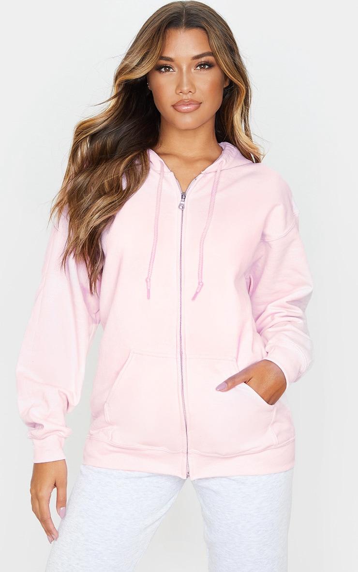 Baby Pink Fleece Zip Up Hoodie 1