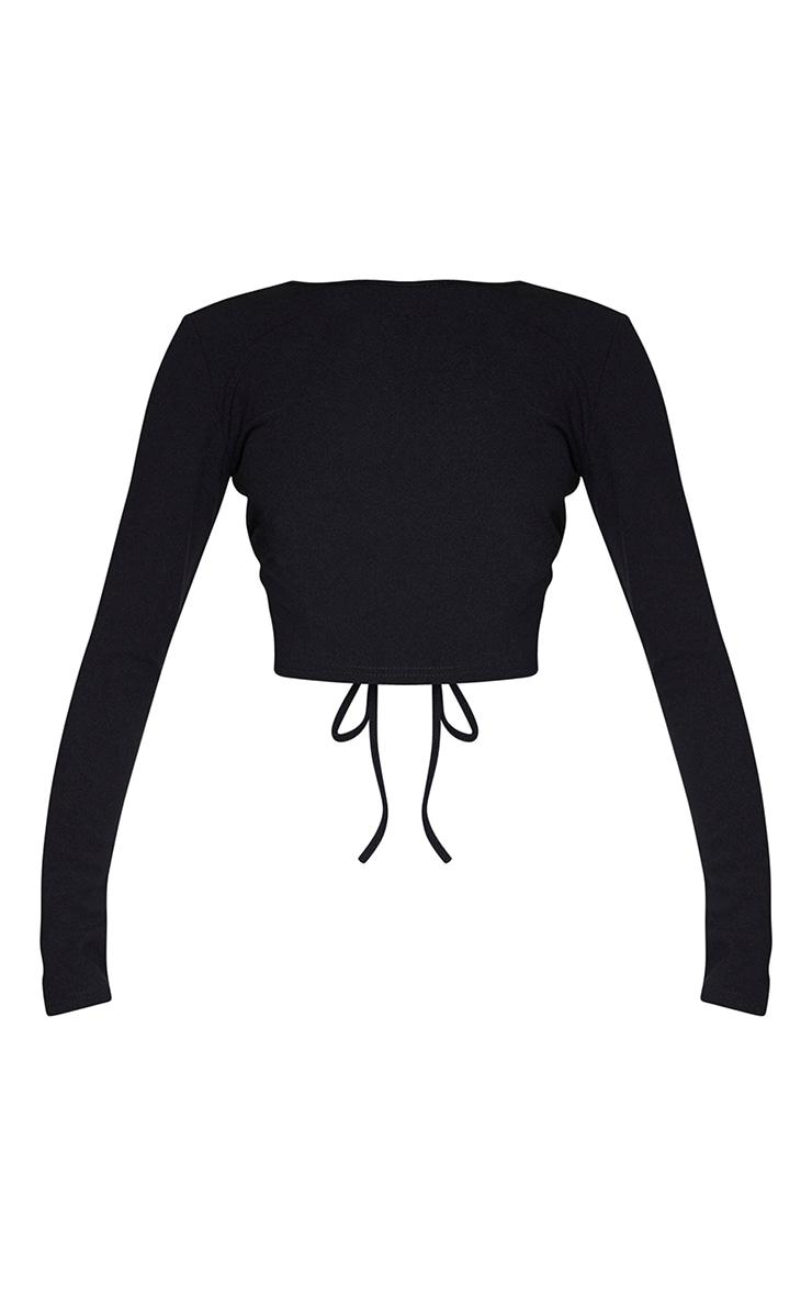 Crop top noir à lacets dans le dos et manches longues 5