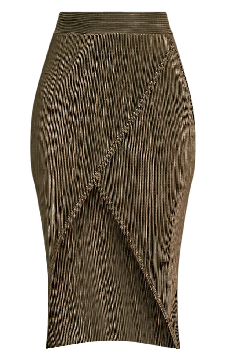 Leola Khaki  Pleated Wrap Midi Skirt 3